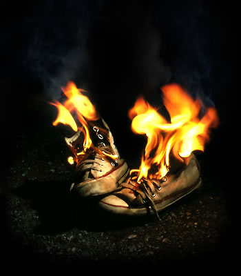 burning sneakers